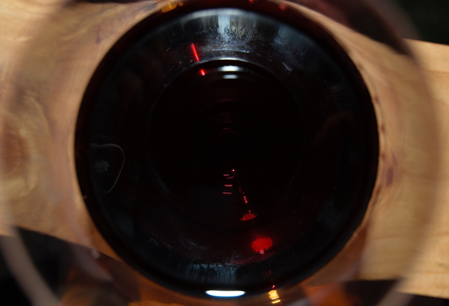Looking inside a glass of Malbec wine