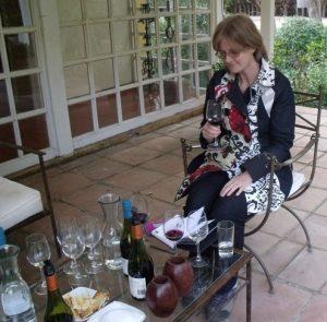 Helen tasting Loma Larga wines