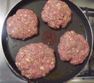 Burger mix with egg and breadcrumbs