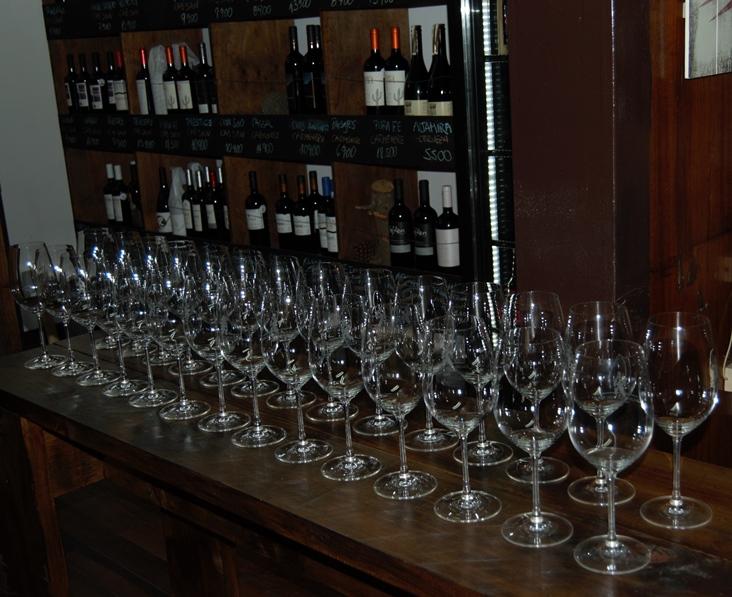 Glasses lined up for Cava del Pescador tasting