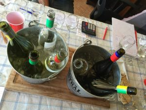 ice buckets of bottles of Sauvignon Blanc