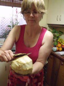 Peeling the cherimoya