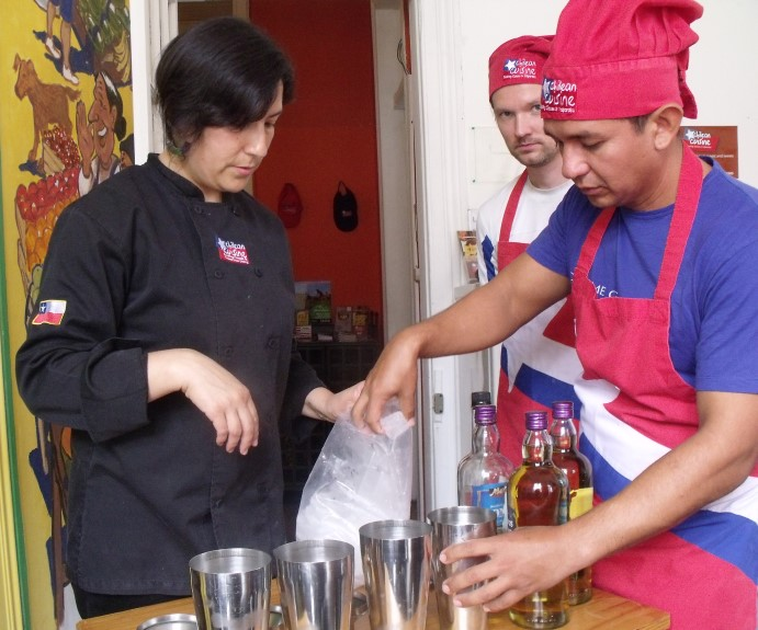 Preparing the Pisco Sour