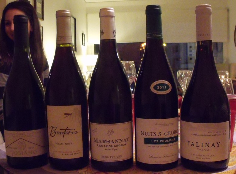 The lineup of wines